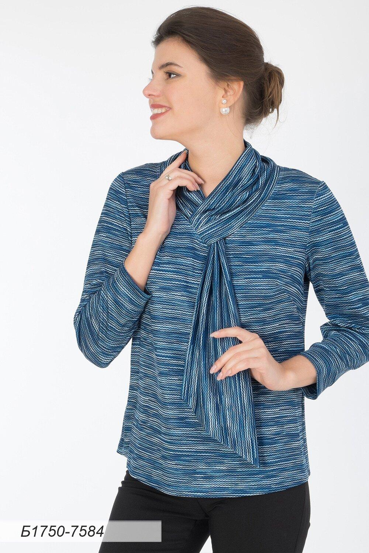 Блузка 1750 тр-ж Юнона сине-серый волна