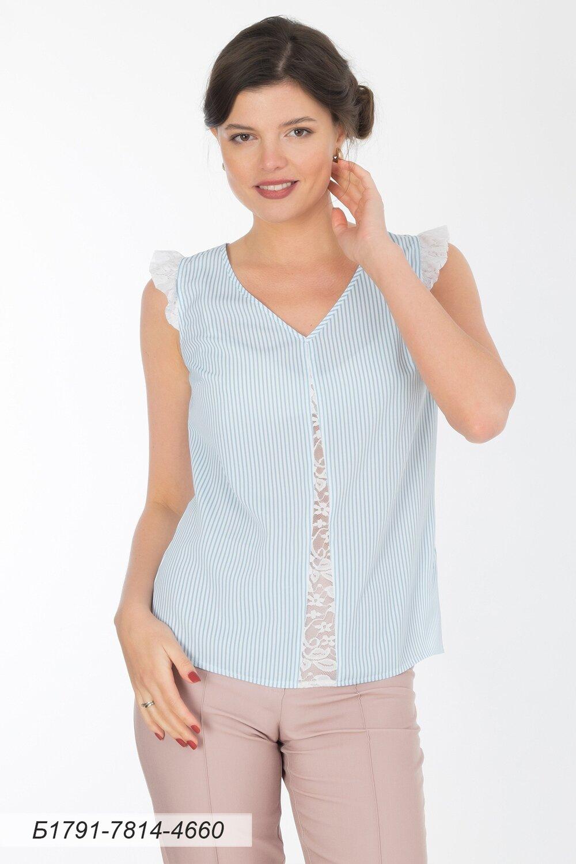 Блузка 1791 креп-шифон бело-голубой Полоска