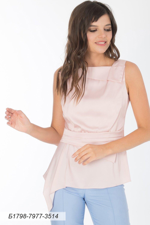 Блузка 1798 шелк-шифон Армани пудровый