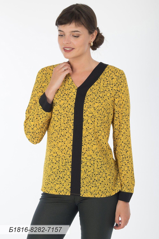 Блузка 1816 креп-шифон ярко-желтый Мартышки