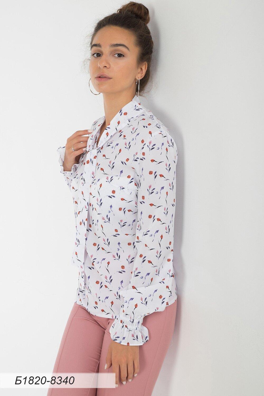 Блузка 1820 креп-шифон бело-фиолет Клевер