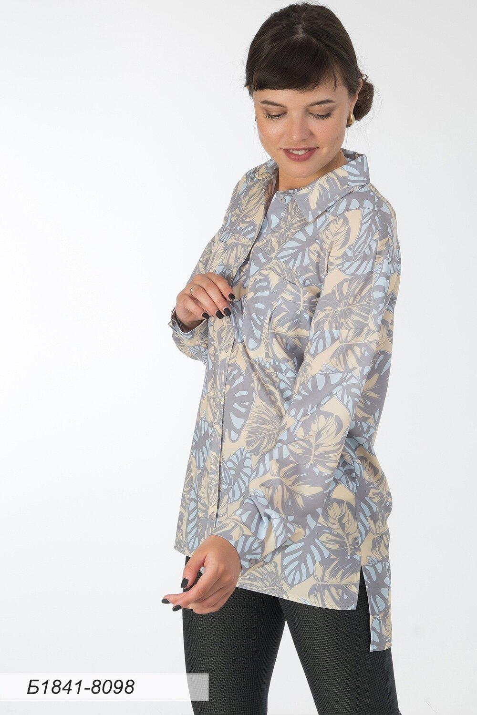 Блузка 1841 креп-шифон лимонно-голубой Монстера