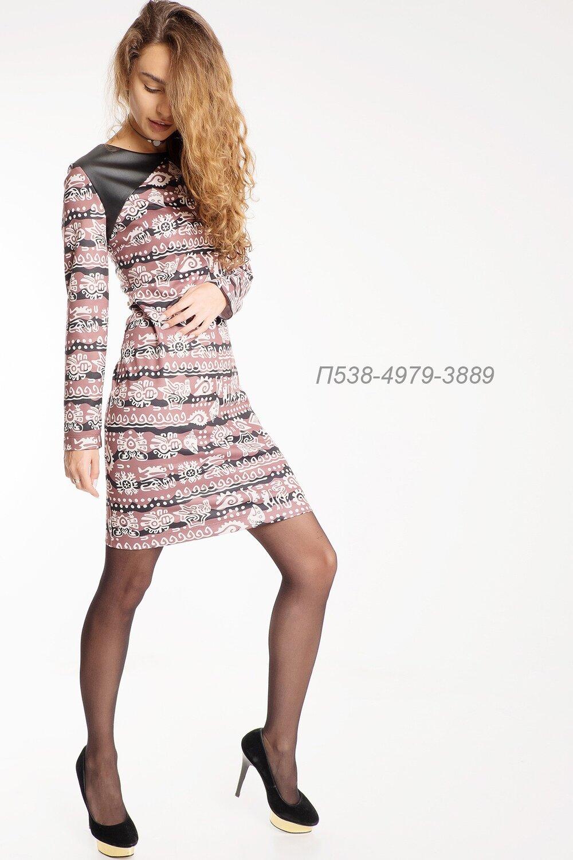 Платье 538 тр-ж Лакоста коричн-беж Майя/ кожа черн.