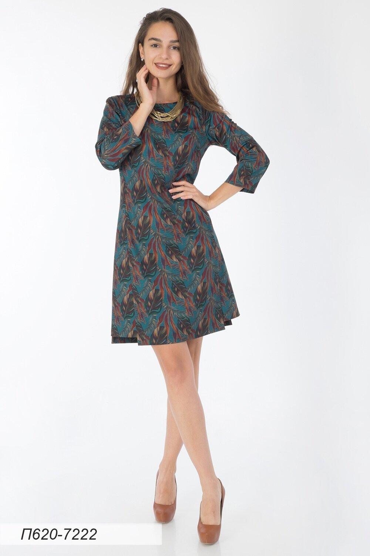 Платье 620 тр-ж малахитово-рыжий Тропики