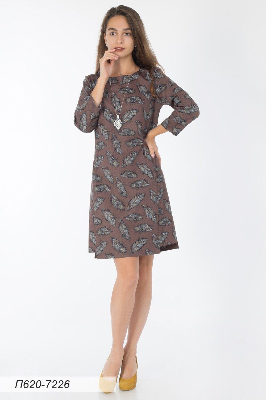 Платье 620 тр-ж беж-голубой Перышки