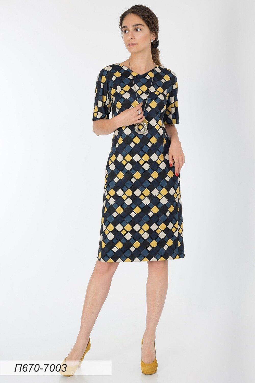 Платье 670 тр-ж сине-желтый Мозайка