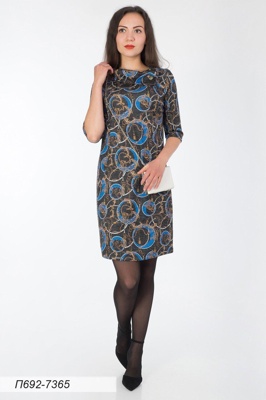 Платье 692 тр-ж Сандра черн-син цепи