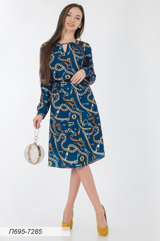 Платье 695 креп-шифон сине-золотистый Цепи