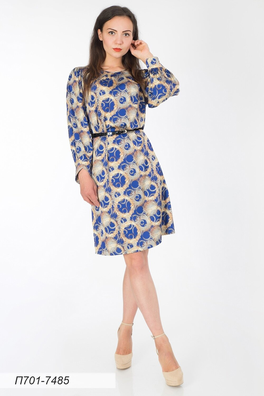 Платье 701 шелк-шифон плательный син-золот Ричи