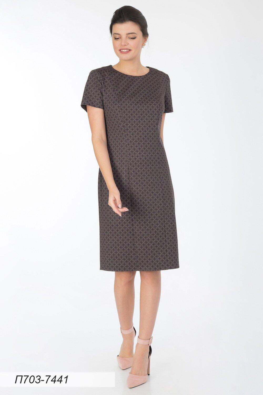 Платье 703 тр-ж кофейно-беж Графика