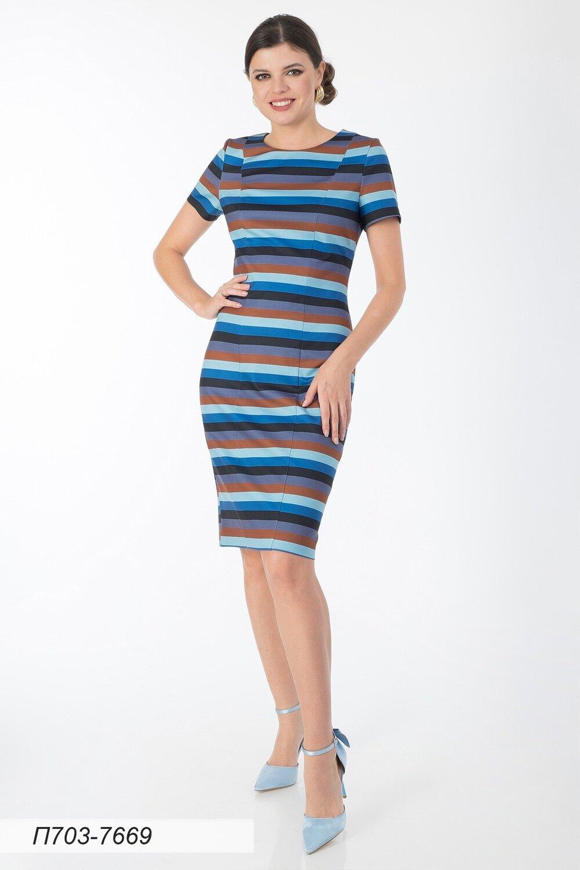 Платье 703 тр-ж коричн-голубой Полоска