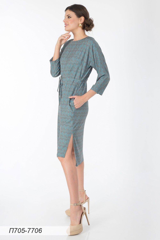 Платье 705 вискоза твил бирюз-беж Эльза