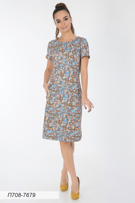Платье 708 тр-ж рыже-голубой Гленчек