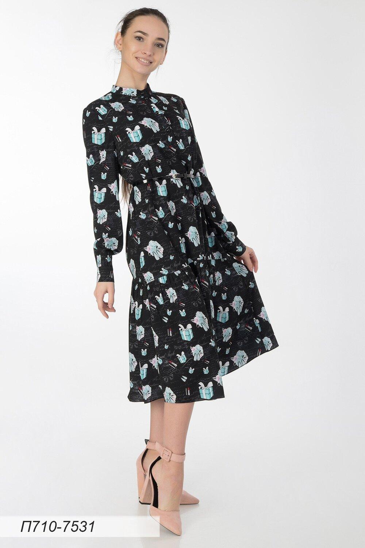 Платье 710 креп-шифон черно-мятный Тиффани