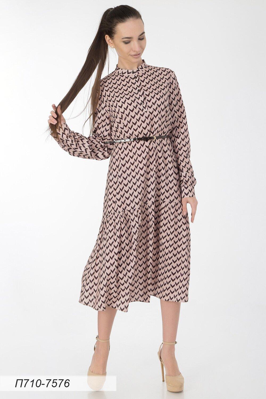 Платье 710 креп-шифон пудрово-черн Эмма