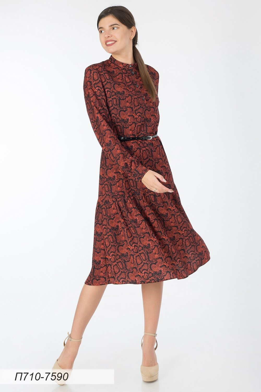 Платье 710 креп-шифон терракот-черн Питон