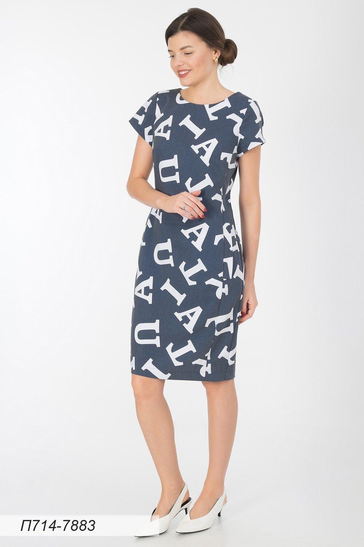 Платье 714 вискоза деним-белая Литера