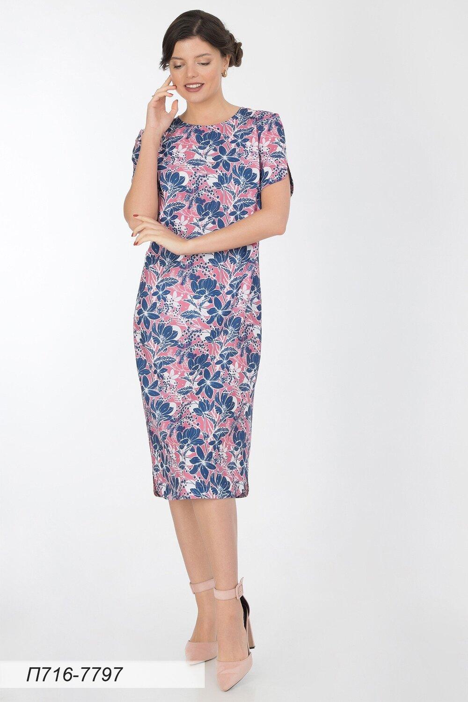 Платье 716 лен-стрейч розов-син цветы