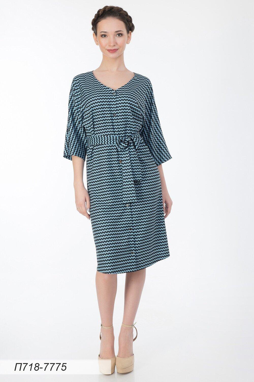 Платье 718 вискоза твил серо-черн Зигзаг