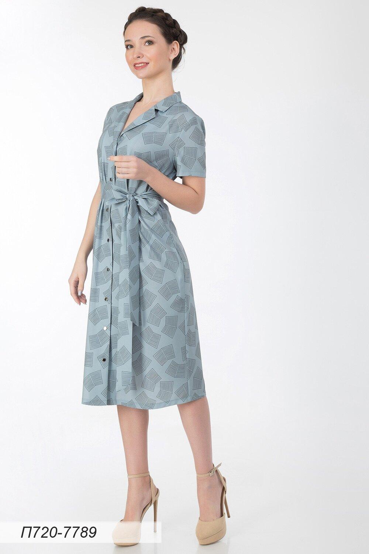 Платье 720 лен-стрейч серо-черн Тетрадь