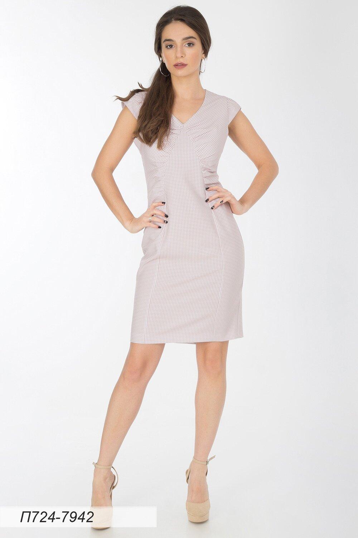 Платье 724 вискоза бело-беж гленчек
