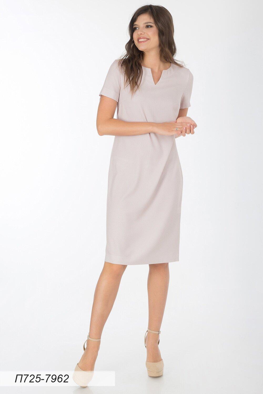 Платье 725 вискоза твил бежево-белая Гленчек