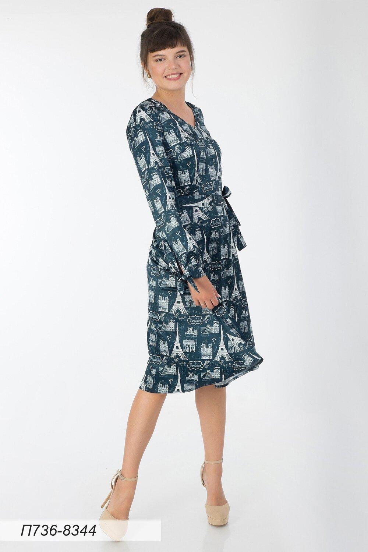 Платье 736 шелк-шифон плательн темно-син Франция