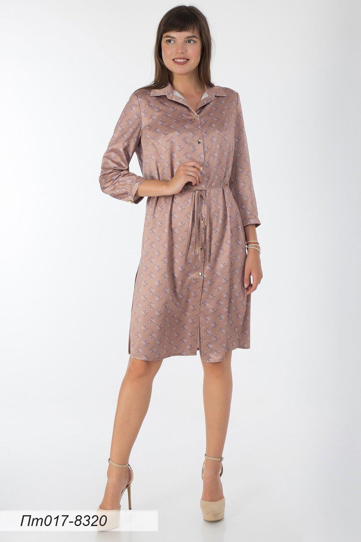 Платье-туника 017 шелк-шифон какао Сьюзи