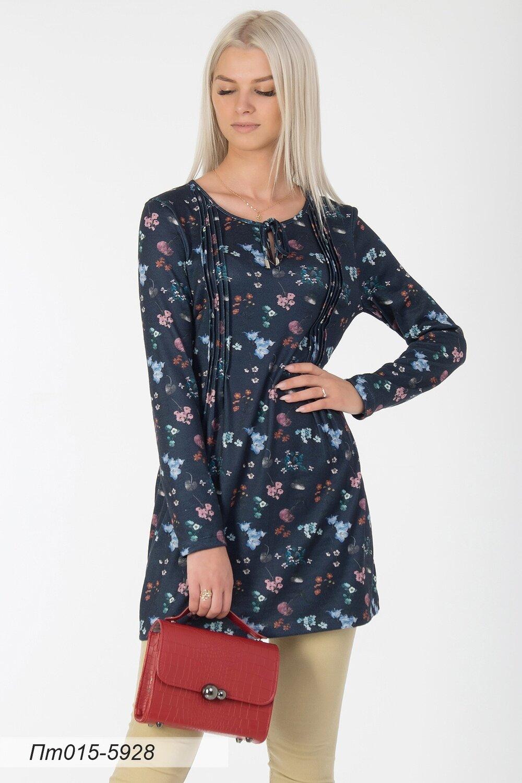 Платье-туника 015 тр-ж Эльза темно-синий Цветы