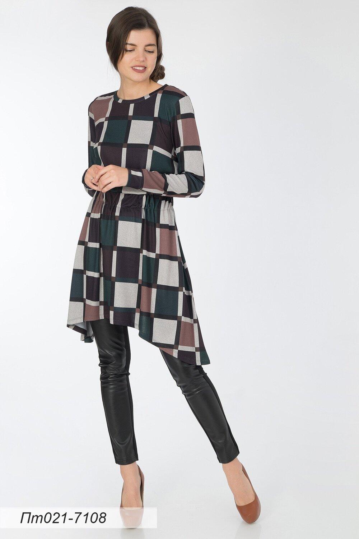 Платье-туника 021 тр-ж Юнона коричн-зелен клетка