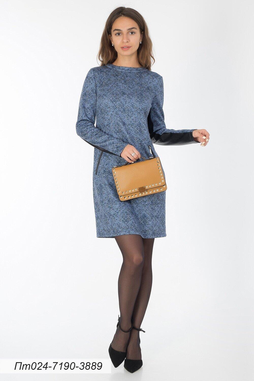 Платье-туника 024 тр-ж Сандра синий Питон