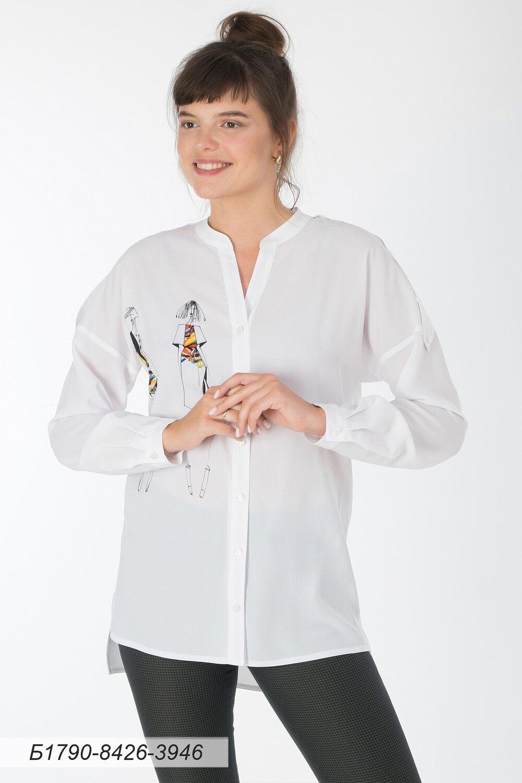 Блузка 1790 креп-шифон белый Силуэт