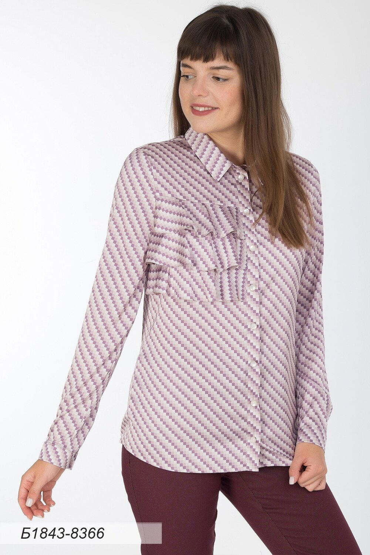 Блузка 1843 шелк-шифон Армани лилово-беж квадратики