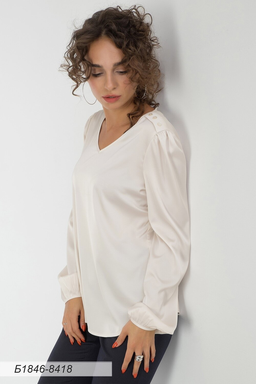Блузка 1846 шелк-шифон Армани сливочный