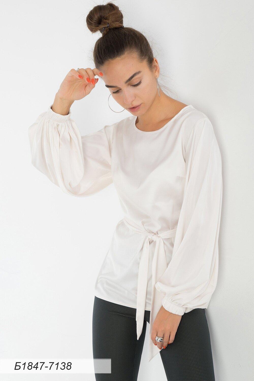 Блузка 1847 шелк-шифон Армани сливочный