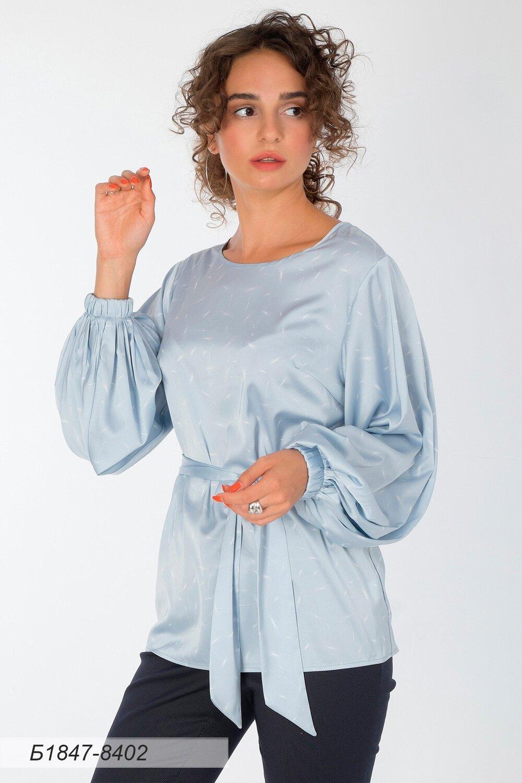 Блузка 1847 шелк-шифон Армани серебр-бел пушинка