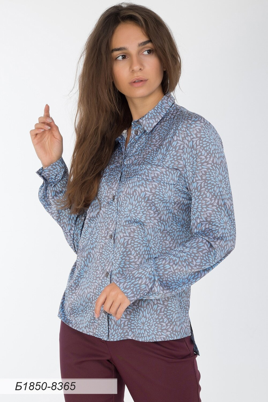 Блузка 1850 шелк-шифон Армани сер-голубой капли