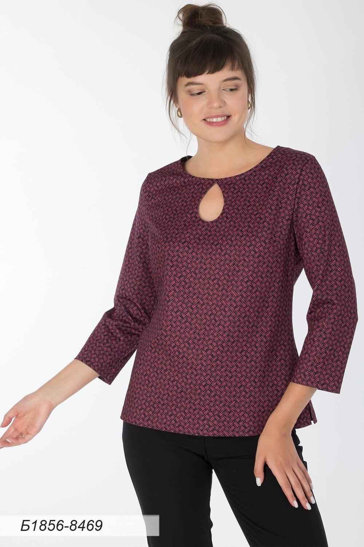 Блузка 1856 тр-ж малиново-черный плетение