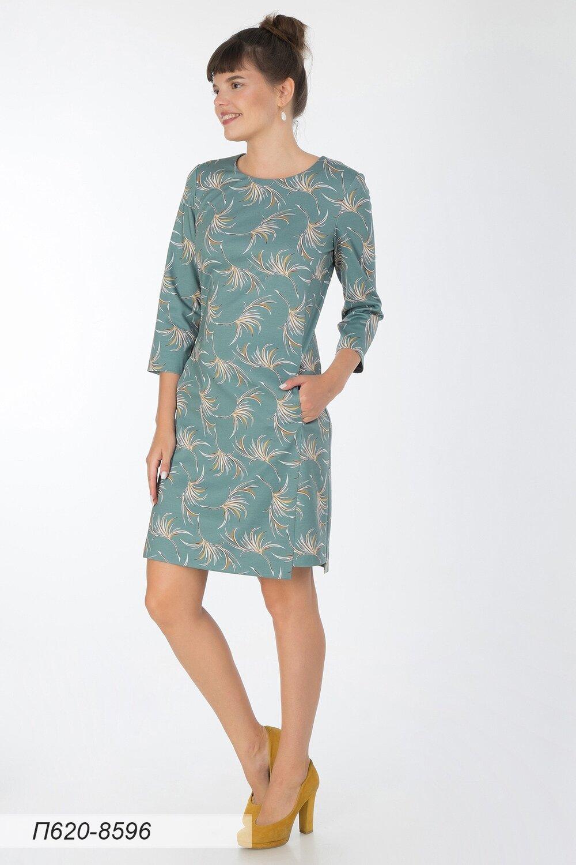 Платье 620 тр-ж елочка зелено-горчичн веточки