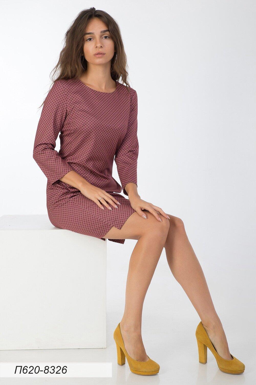 Платье 620 тр-ж бордово-беж Соты