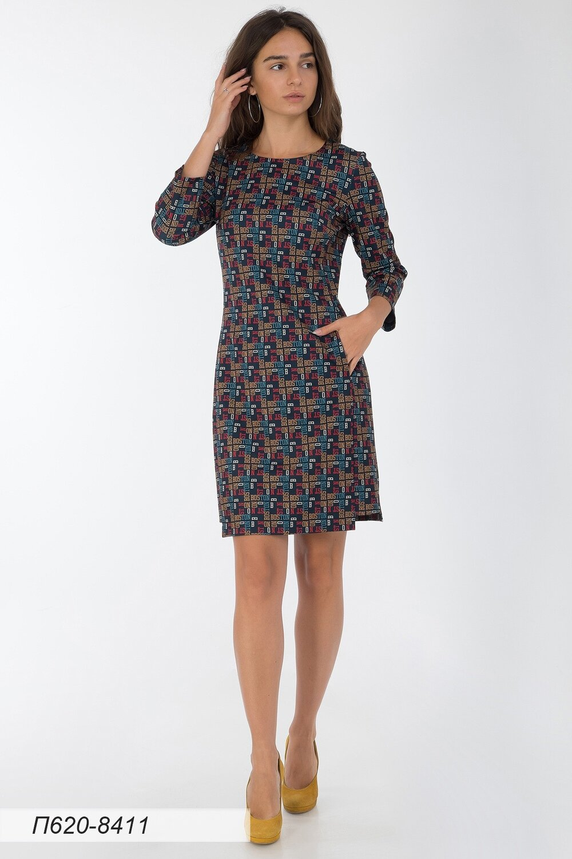 Платье 620 тр-ж сине-красн Бостон