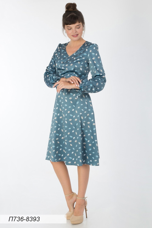 Платье 736 шелк-шифон плательн сер-голубой Листики