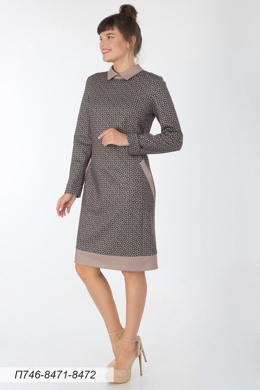 Платье 746 тр-ж беж-черн плетение/ тр-ж беж