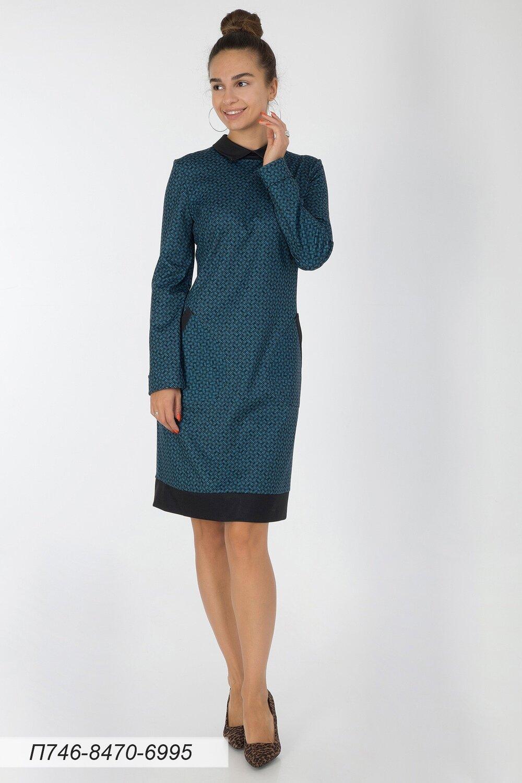 Платье 746 тр-ж сине-черн плетение