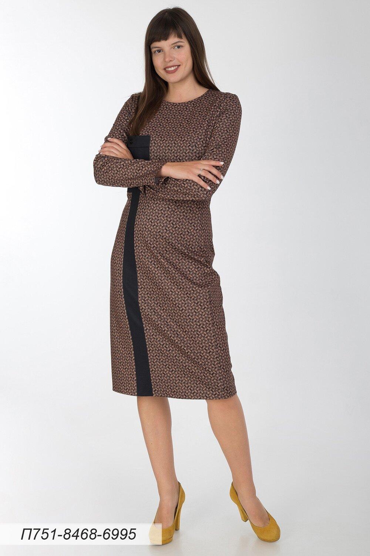 Платье 751 тр-ж верблюжье-черн плетение/ тр-ж черный