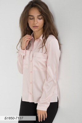 Блузка 1850 шелк-шифон Армани пудровый