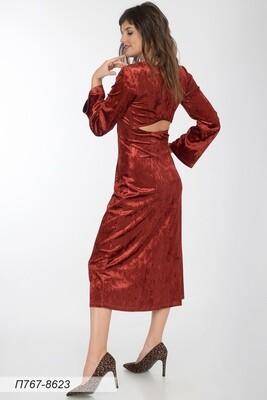 Платье 767 велюр красно-коричн