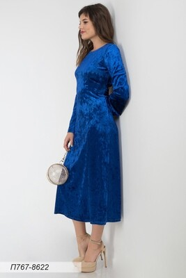 Платье 767 велюр индиго
