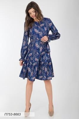 Платье 753 вискоза твил син-бирюз павлин