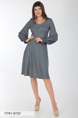 Платье 761 тр-ж Верона сер-чер узор